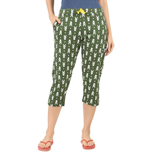 Womens Capri - Rabbits in Forest Green - TirupurFactorySale.com