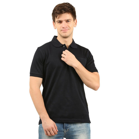 Double Mercerized Pocket Polo (Navy)