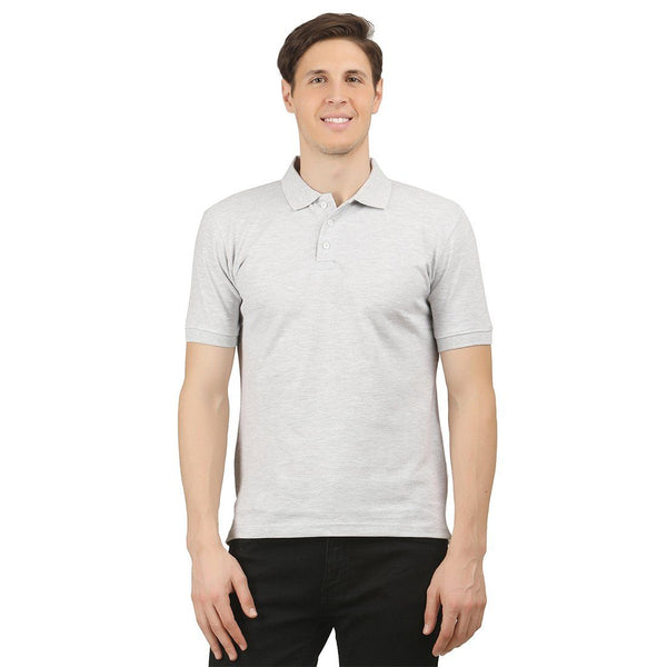White Melange Enzyme Washed Solid Polo - TirupurFactorySale.com