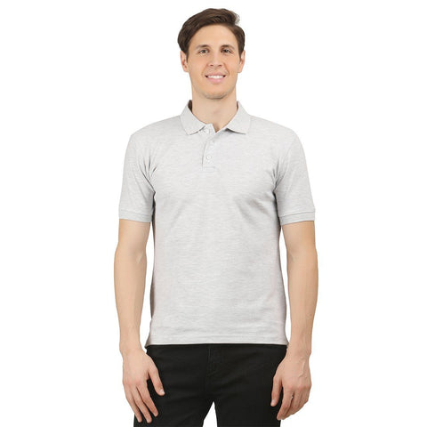 White Melange Enzyme Washed Solid Polo