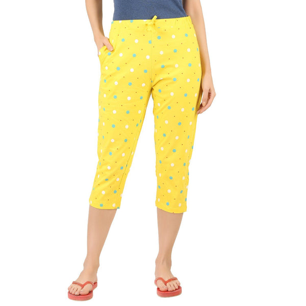 Womens Capri - Yellow polka - TirupurFactorySale.com