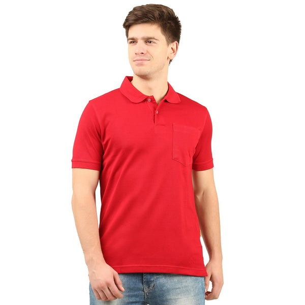 Double Mercerized Pocket Polo (Red) - TirupurFactorySale.com