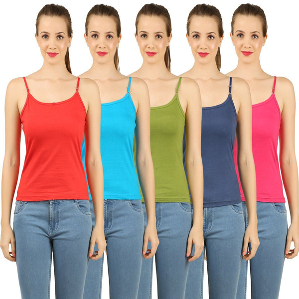 5 - Colour Cotton Camisoles (Pack of 5) - TirupurFactorySale.com