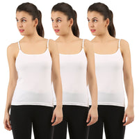 White Cotton Camisole (Pack of 3) - TirupurFactorySale.com
