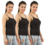 Black Cotton Camisole (Pack of 3) - TirupurFactorySale.com