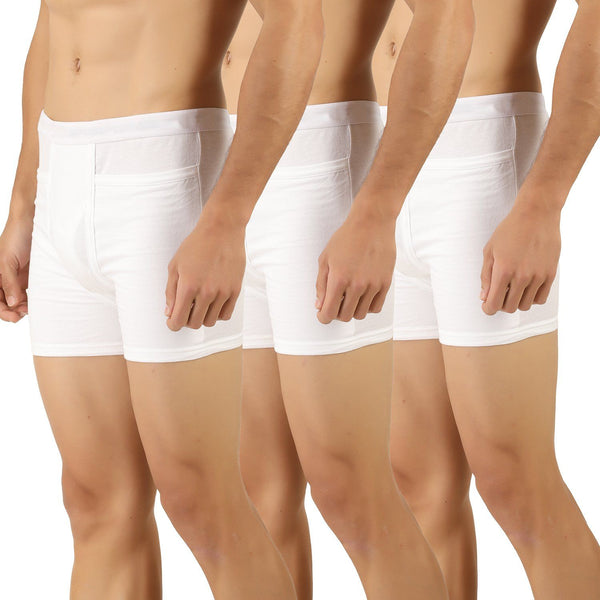 Mens White Pocket Trunks (Pack of 3) - TirupurFactorySale.com