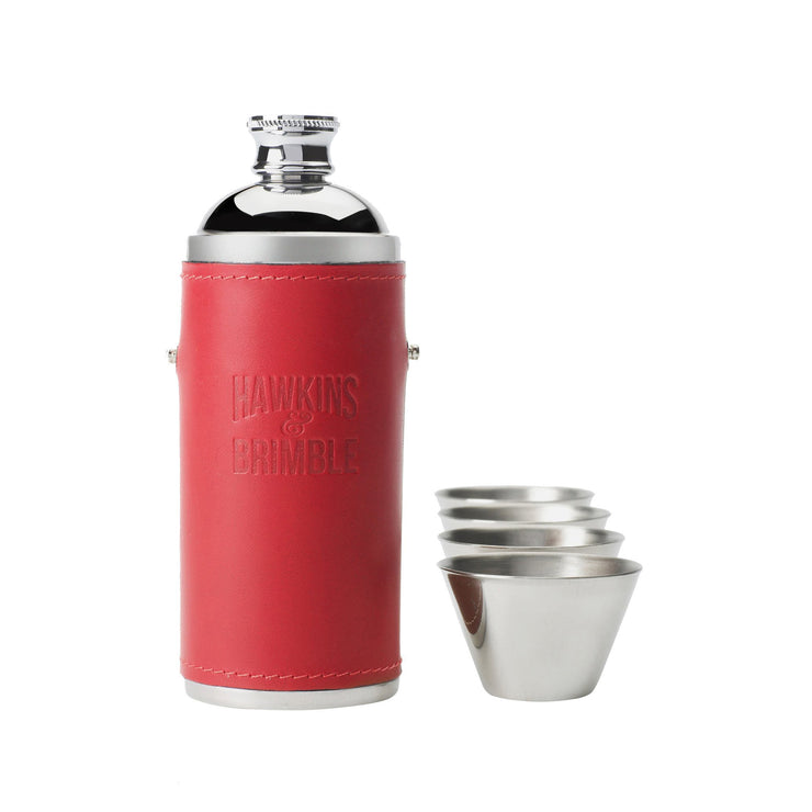 Red Leather 8oz Hunter Flask