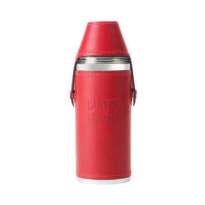Red Leather 8oz Hunter Flask - Hawkins & Brimble EU