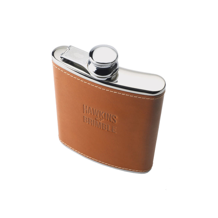 Tan Leather 6oz Hip Flask - Hawkins & Brimble EU