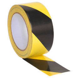 Hazard Warning Black/Yellow 50mm x 33m - 12 Roll Pack - Special Offer