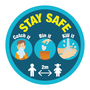 Floor Stickers - Pack of 10 - 300mm diameter - Stay Safe