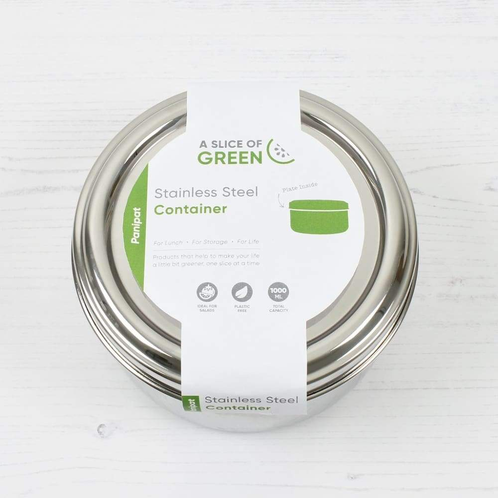 A Slice of Green A Slice of Green Stainless Steel 1 Litre Food Container - Panipat &Keep