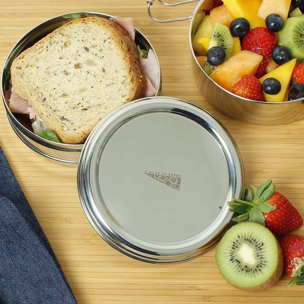 A Slice Of Green A Slice Of Green Stainless Steel Two Tier Round Lunch Box &keep