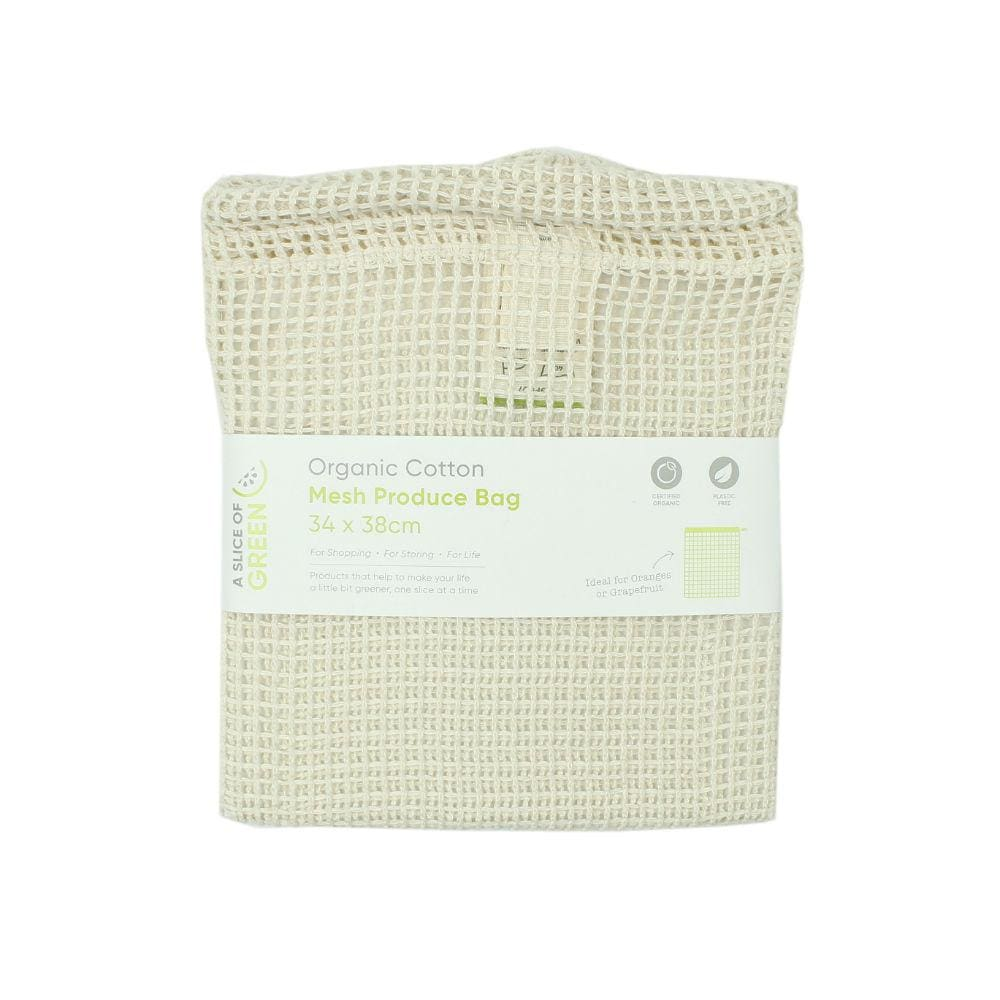 A Slice Of Green Large Organic Cotton Mesh Produce Bag &keep