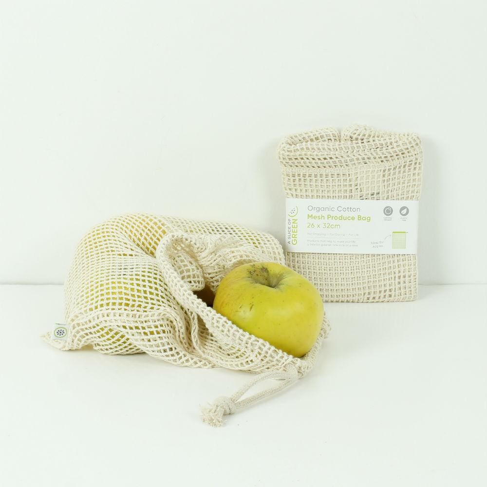 A Slice Of Green Medium Organic Cotton Mesh Produce Bag &keep