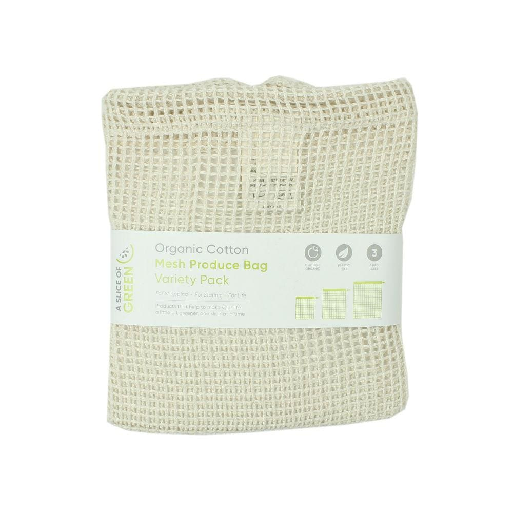 A Slice Of Green Pack Of 3 Organic Cotton Mesh Produce Bags &keep