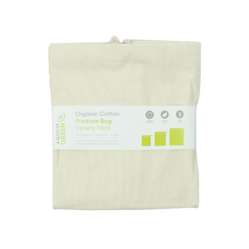 A Slice Of Green Pack Of 3 Organic Cotton Produce Bags &keep