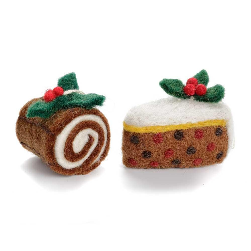 Christmas Cake & Yule Log Decorations by Amica