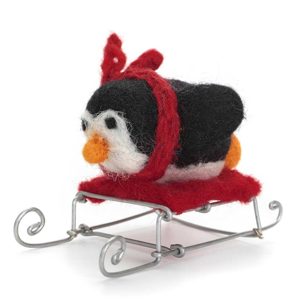 Penguin on Sledge Decoration by Amica &Keep