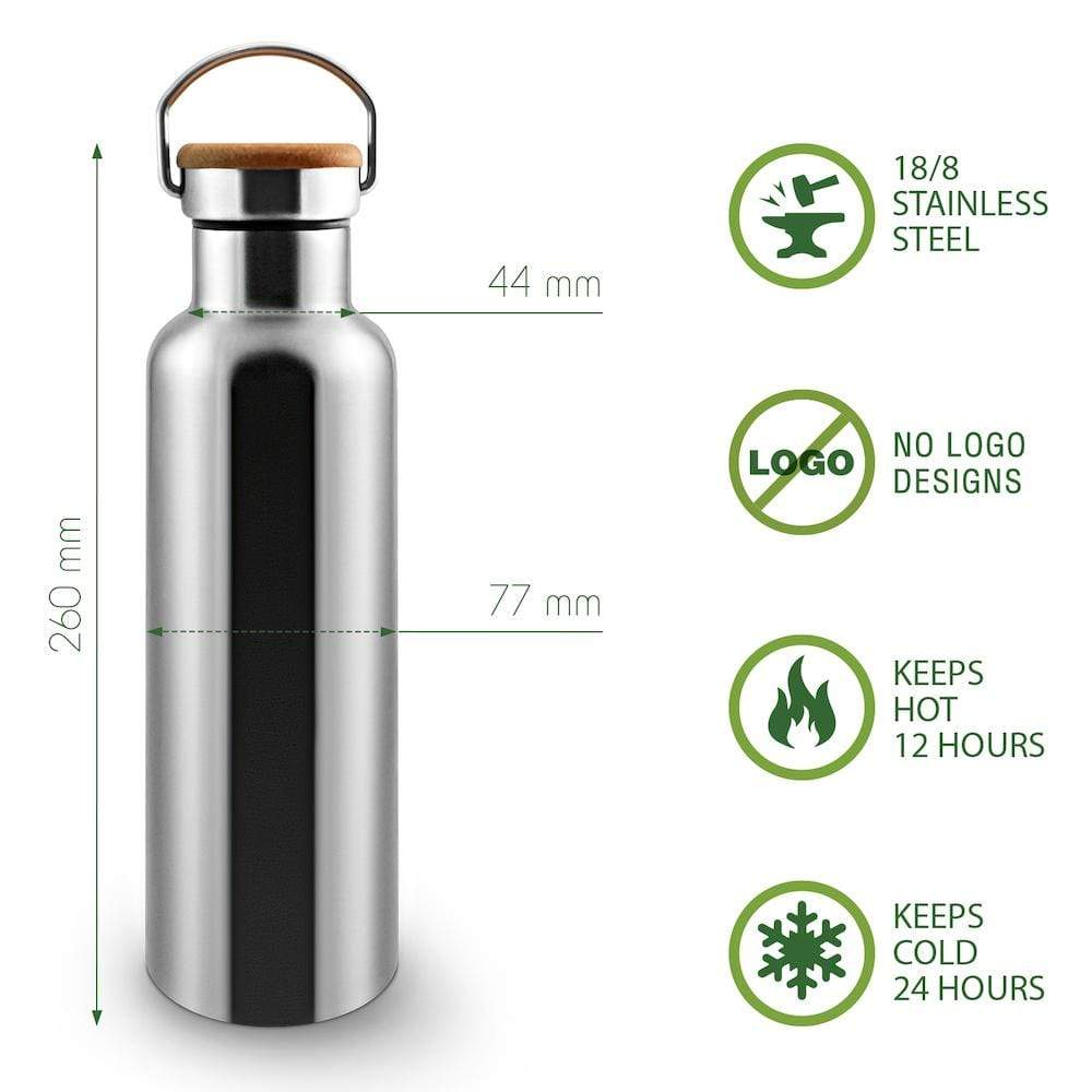 Stainless Steel Insulated Water Bottle 750ml by Bambaw &Keep