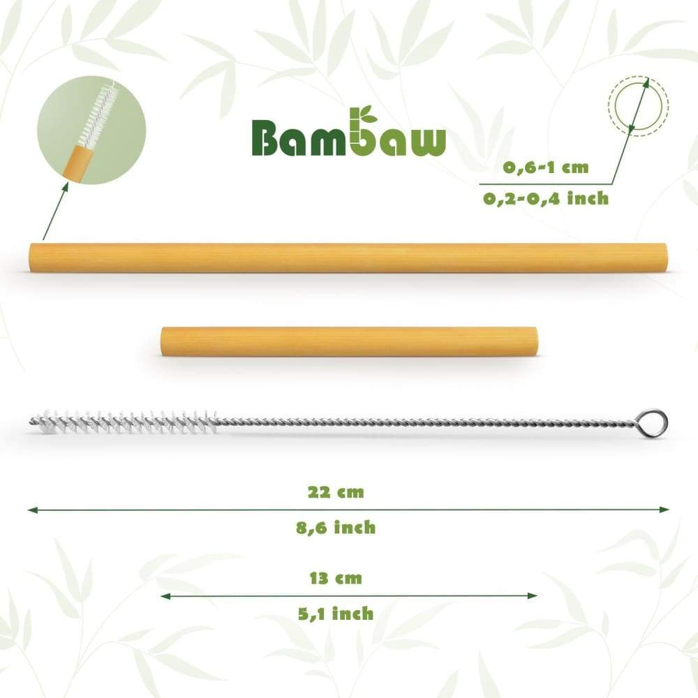 Bambaw 12 Organic Bamboo Mixed Straw Set (13Cm & 22Cm) & Cleaning Brush In Cotton Bag &keep