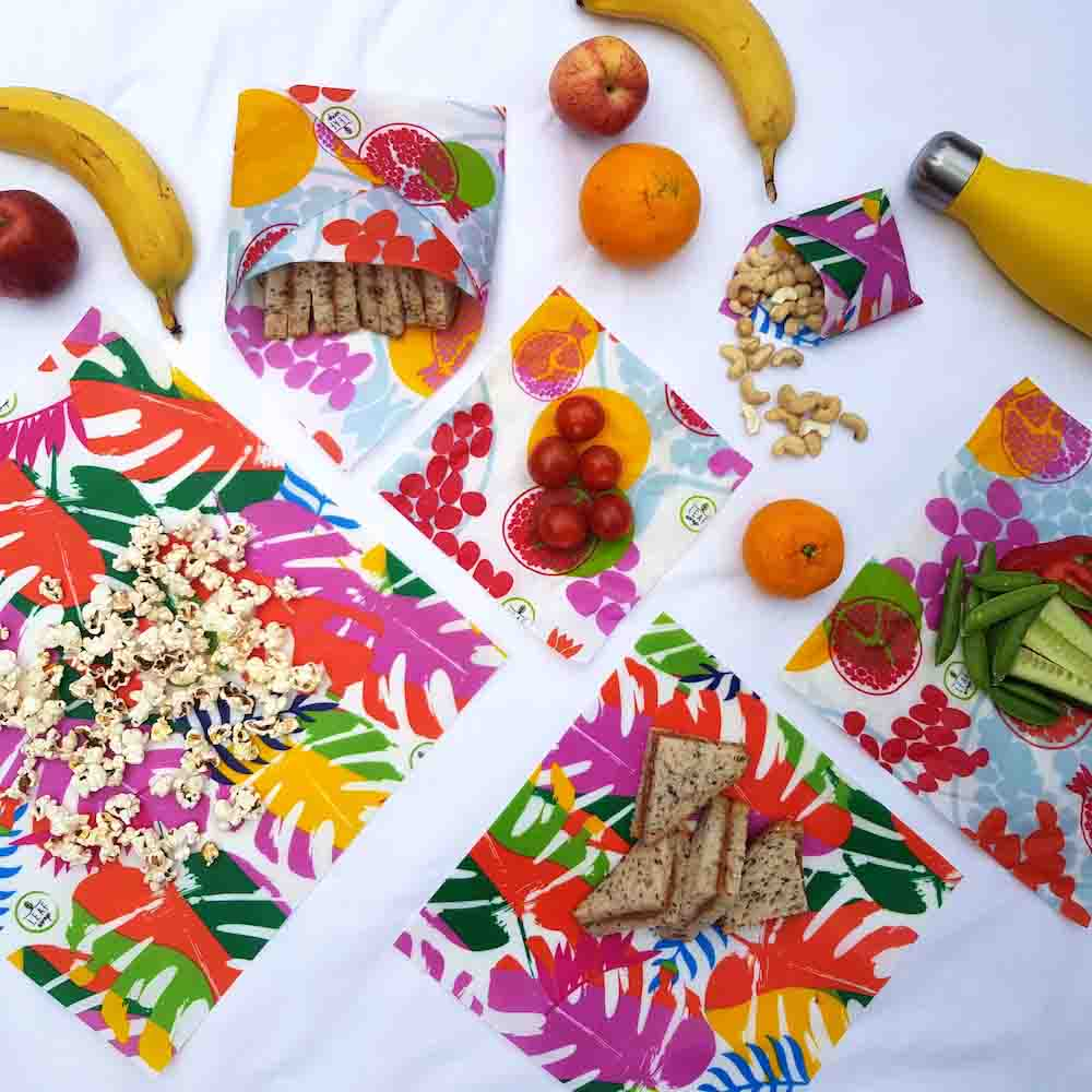 Leaf Wrap Vegan Food Wraps 'The Family Pack' - The Tropical Collection &Keep