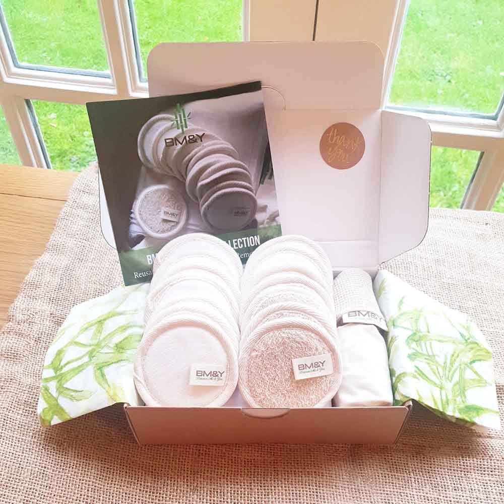 Luxury Reusable Bamboo Cotton Make-Up Pads - Classic Set &Keep