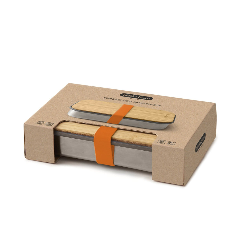 black+blum Stainless Steel/Bamboo 900ml Sandwich Box - Orangeblack+blum Stainless Steel/Bamboo 900ml Sandwich Box - Orange &Keep