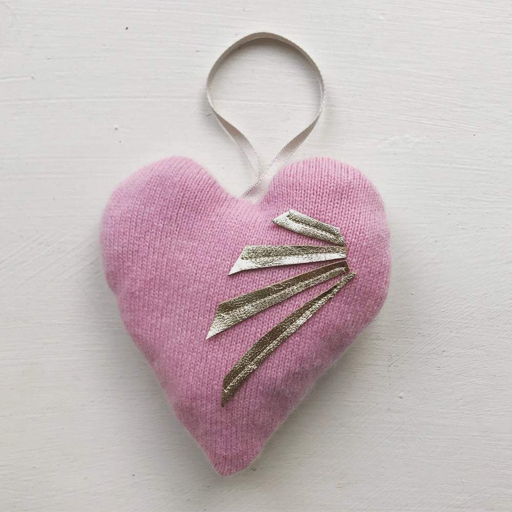 Upcycled Cashmere Lavender Heart Chloe Haywood London &Keep