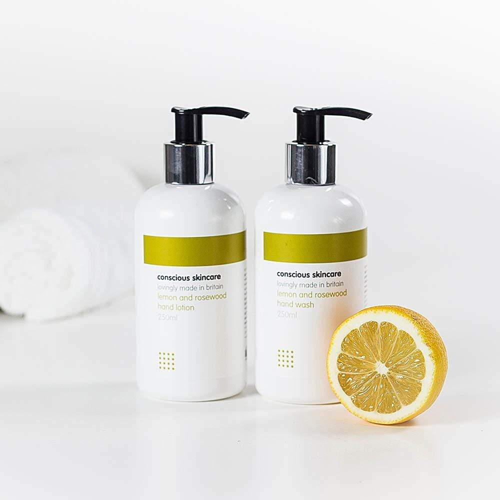 Lemon & Rosewood Organic Hand Lotion & Hand Wash by Conscious Skincare