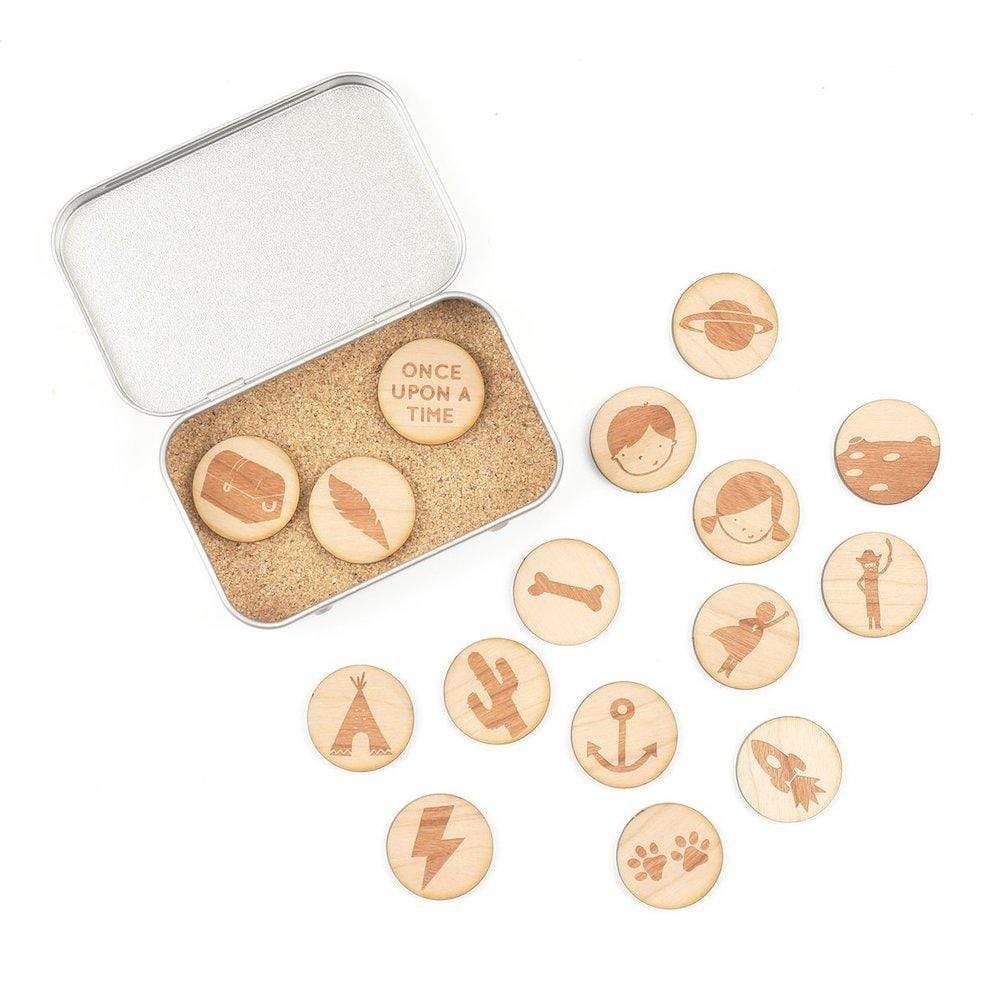 Wooden Story Tokens Tin by Cotton Twist - Outdoor Adventure