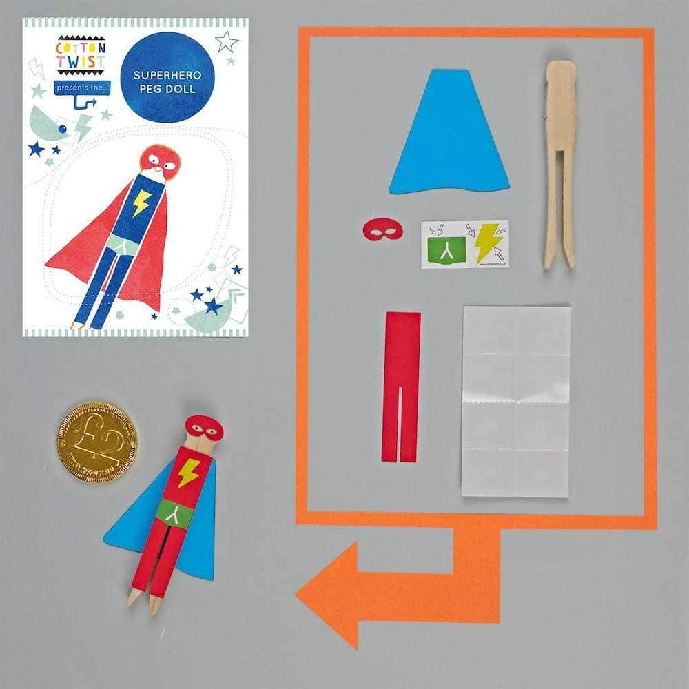 Make Your Own Superhero Peg Doll Kit Cotton Twist &Keep