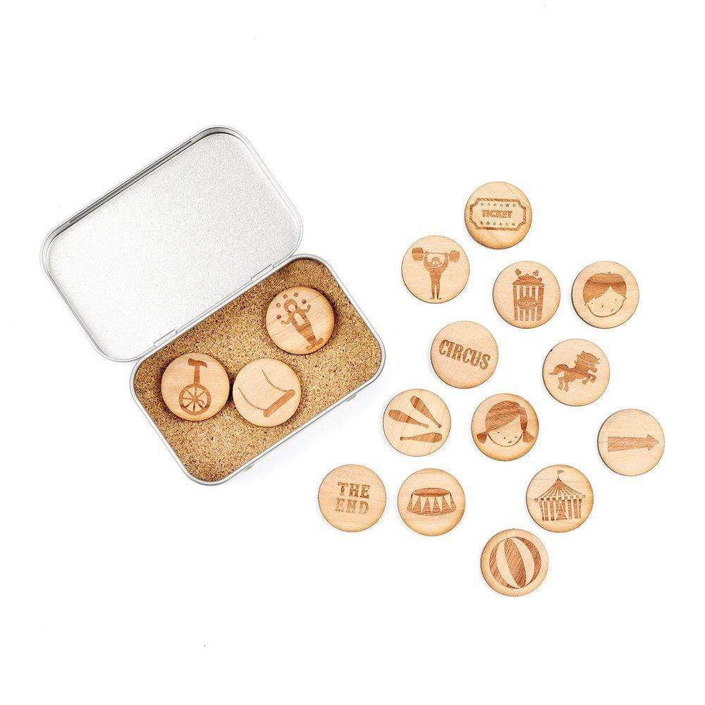 Wooden Story Tokens Tin by Cotton Twist - Circus Adventure &Keep