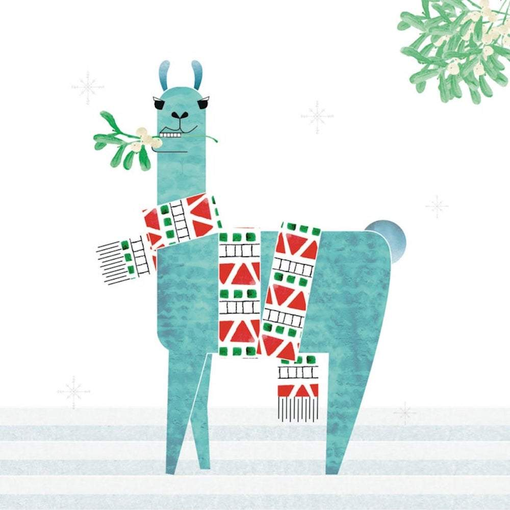 Llama with Mistletoe - Recycled Charity Christmas Card &Keep