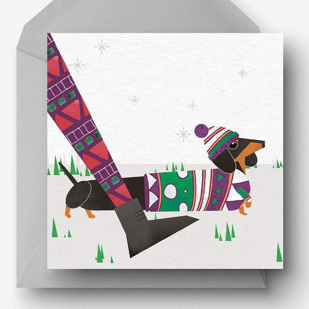 Winter Walkies Sausage Dog - Recycled Charity Christmas Card Ellie Good &Keep