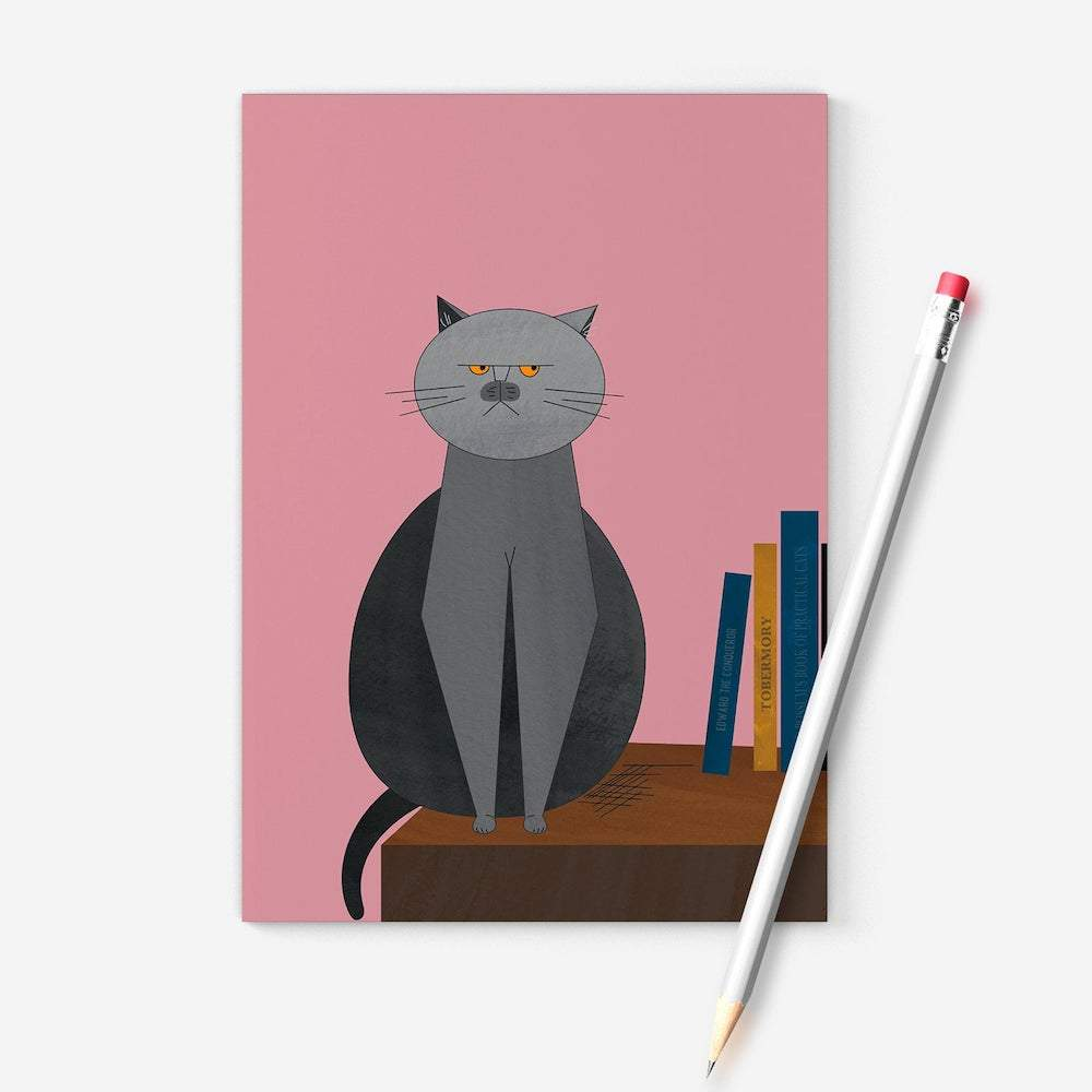 Grumpy British Blue Cat Recycled A6 Notebook Ellie Good &Keep