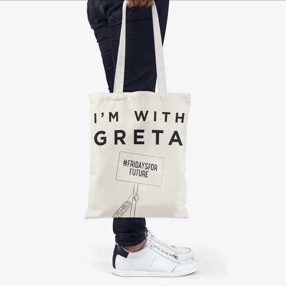 Ellie Good Im With Greta Recycled Tote Bag - Black &Keep