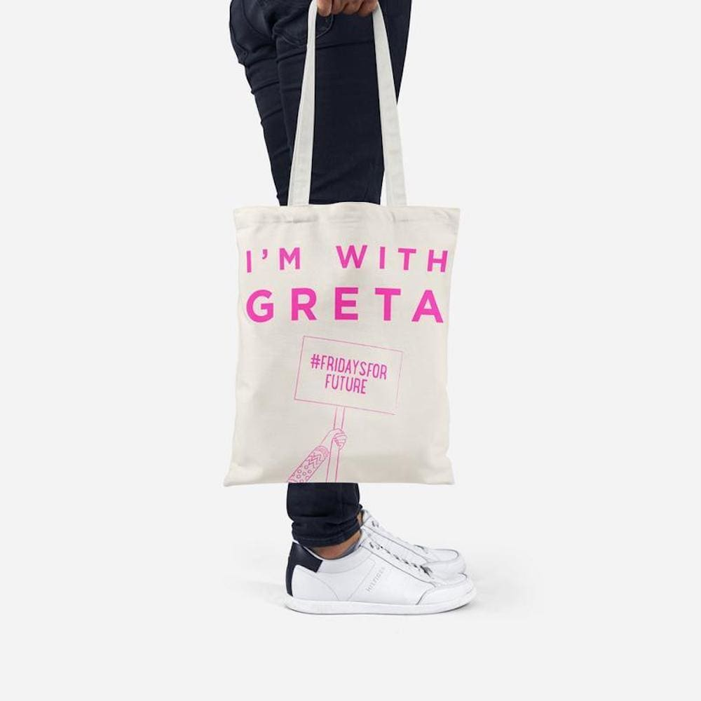 Ellie Good Im With Greta Recycled Tote Bag - Pink &Keep