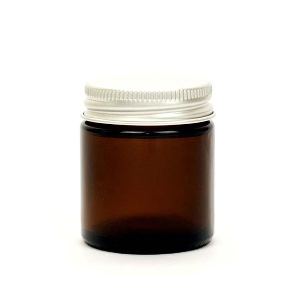 Refillable Amber Glass Jar with Aluminium Lid 60ml &Keep