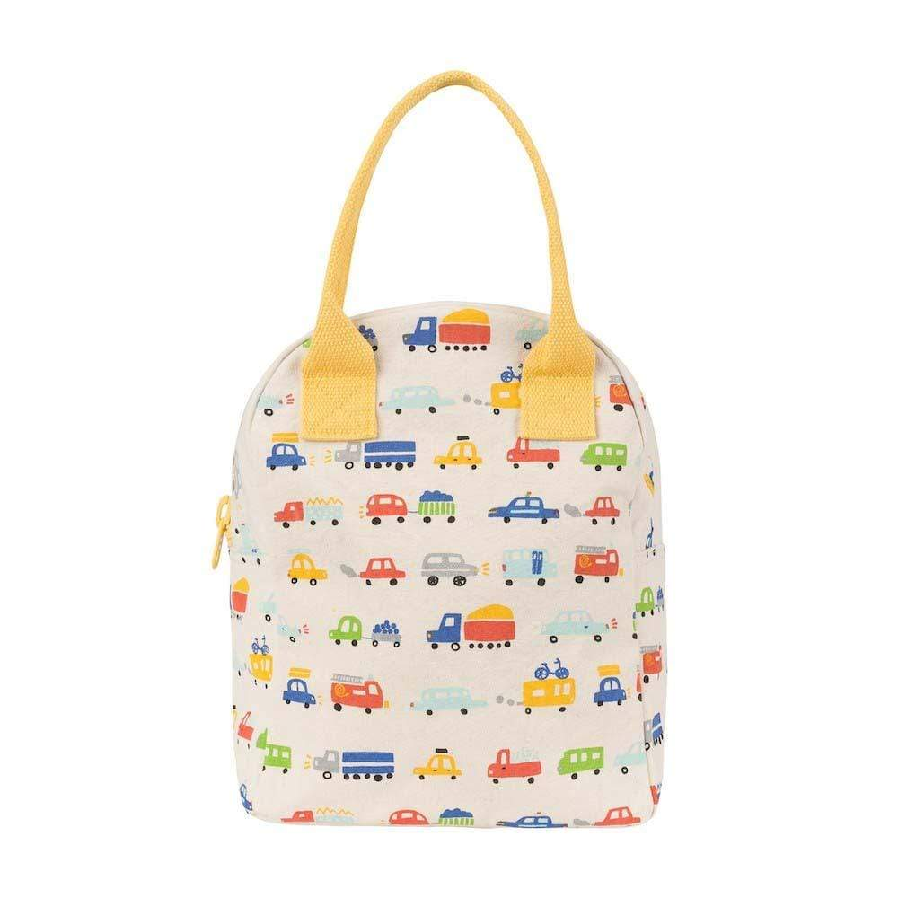 Organic Cotton Canvas Zipper Lunch Bag - Cars &Keep