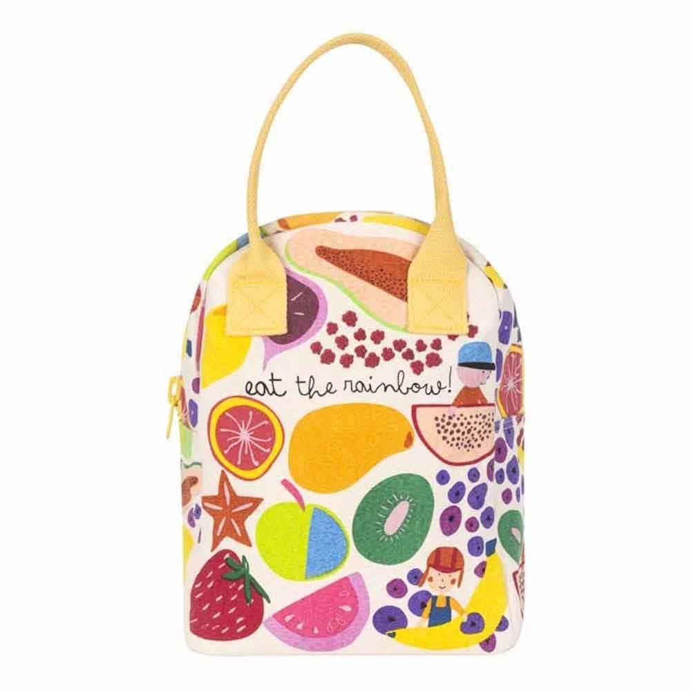 Organic Cotton Canvas Zipper Lunch Bag - Eat The Rainbow Fluf &Keep