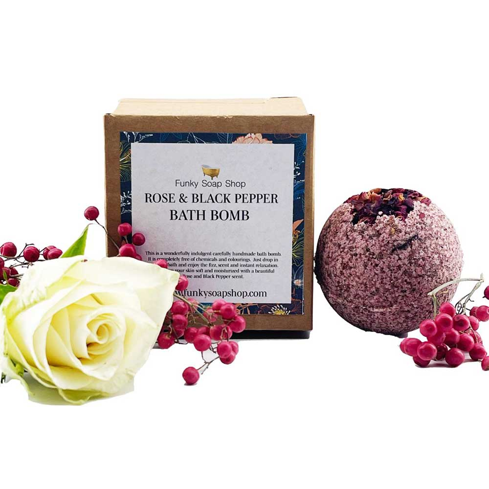 Handmade Vegan Bath Bomb - Rose & Black Pepper &keep