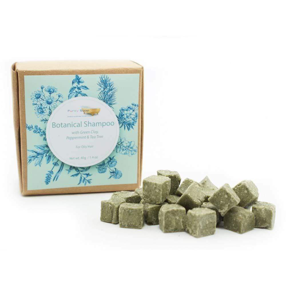 Botanical Shampoo Cubes with Green Clay & Peppermint - Oily Hair - Funky Soap &Keep