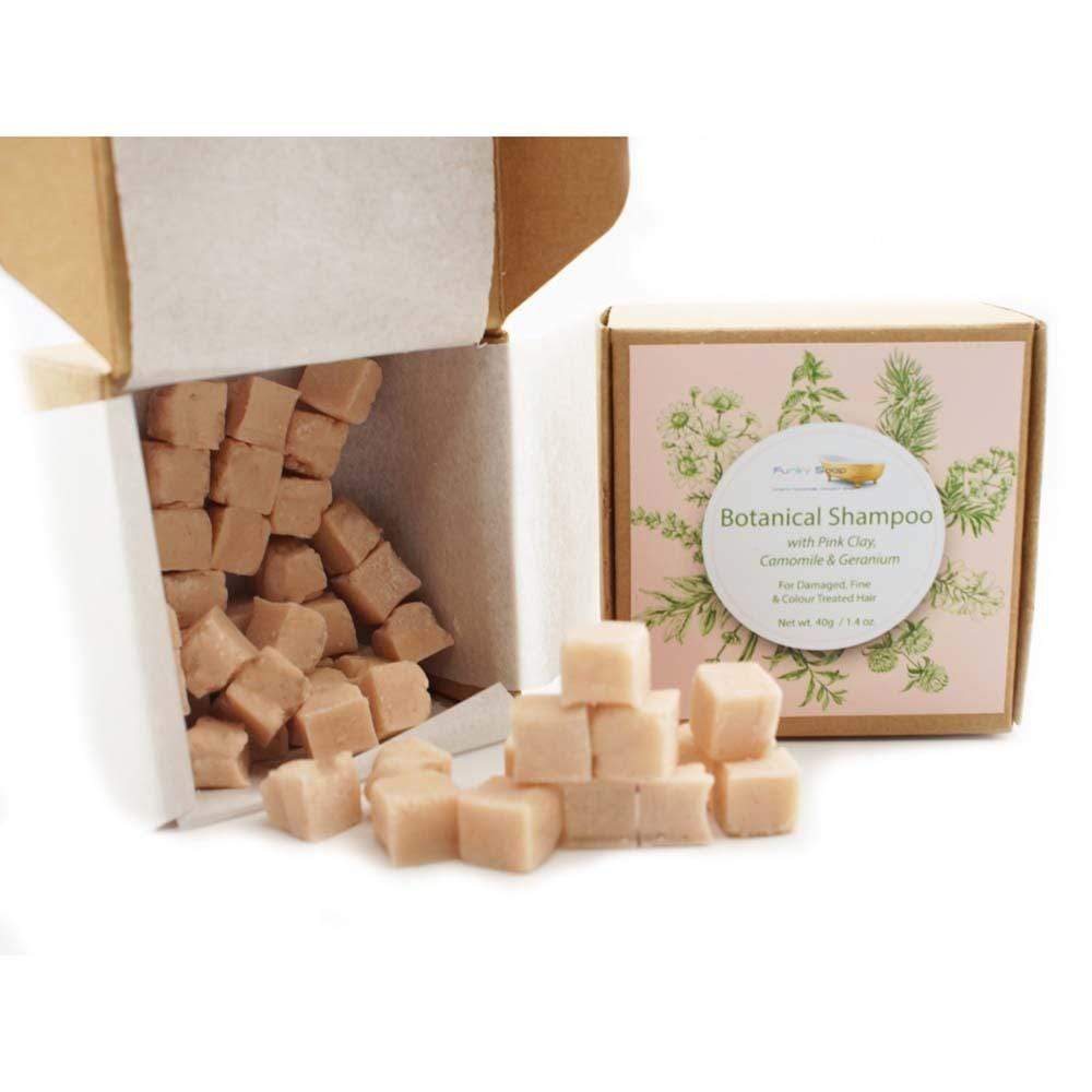 Botanical Shampoo Cubes with Pink Clay & Geranium - Damaged/Fine Hair - Funky Soap &Keep