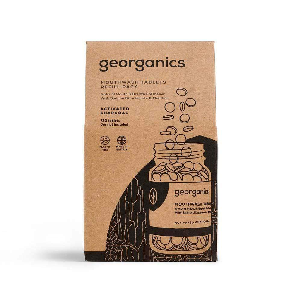 Georganics Natural Mouthwash Tablets Refill - Charcoal 720 Tablets