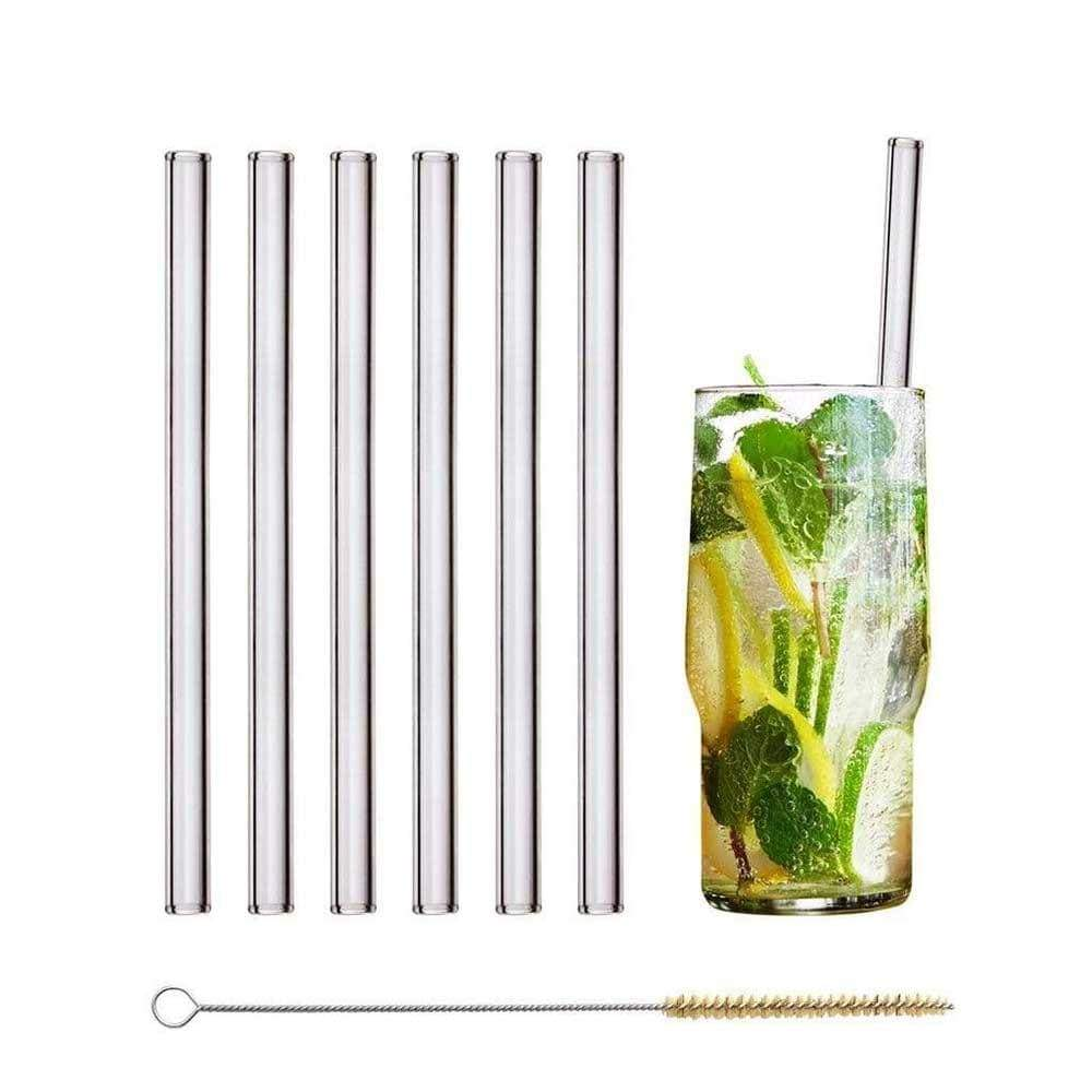 Straight Long Glass Straws - Pack of 6 &Keep