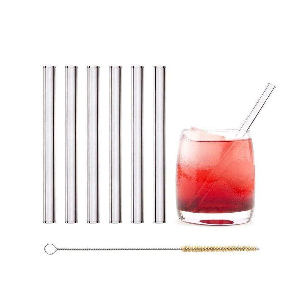Straight Short Glass Straws - Pack of 6 &keep