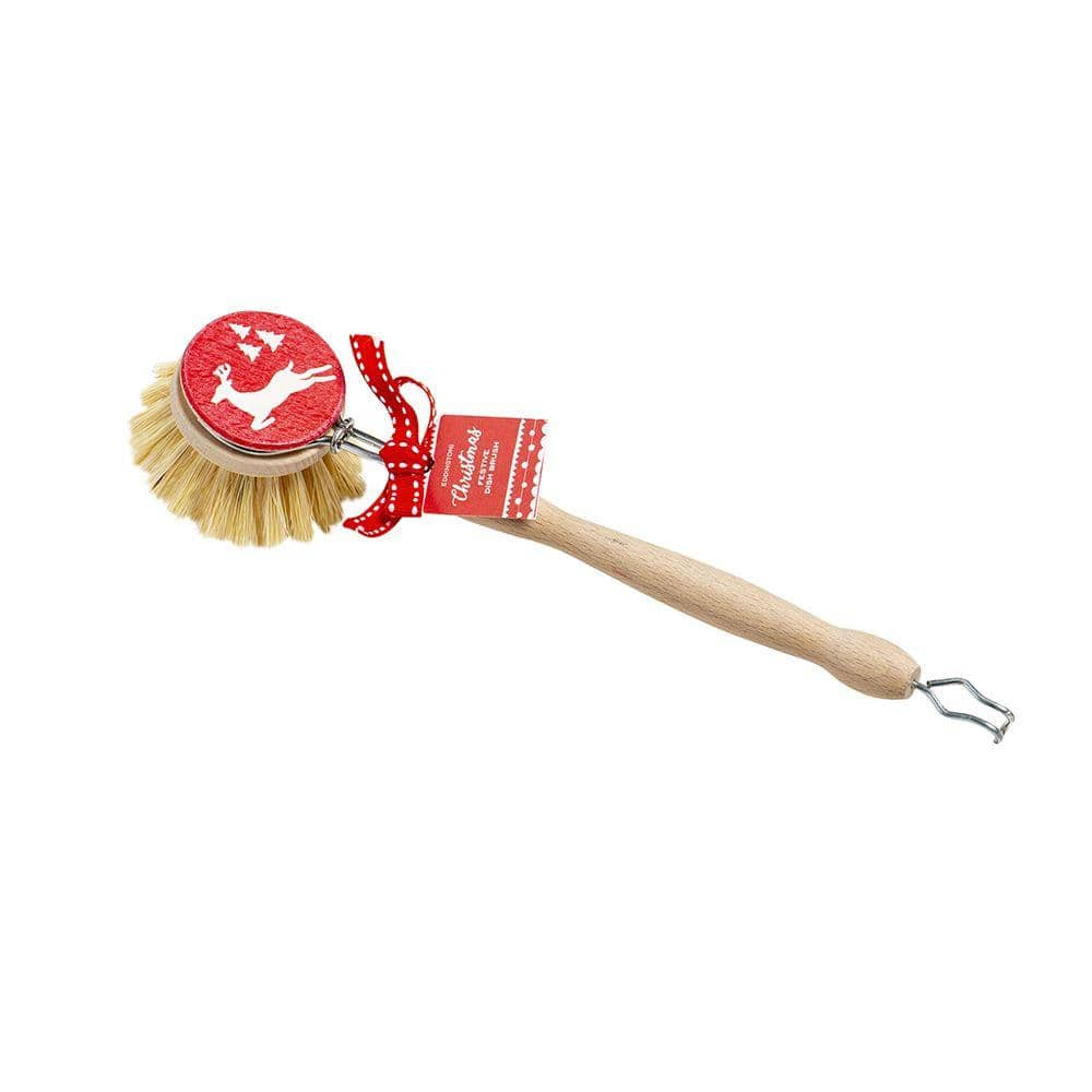 Festive Wooden Dish Brush with Removable Head - 4cm