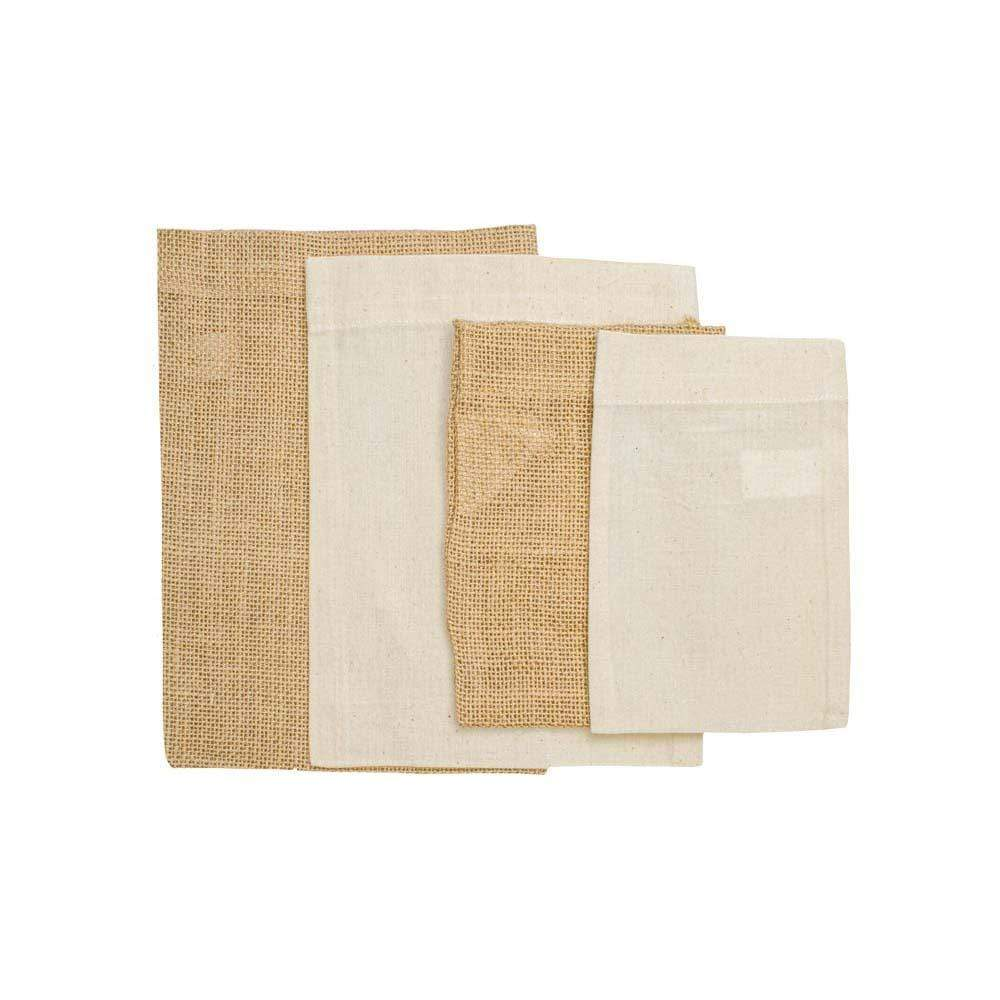 Set of 4 Hessian & Cotton Reusable Gift Bags &Keep