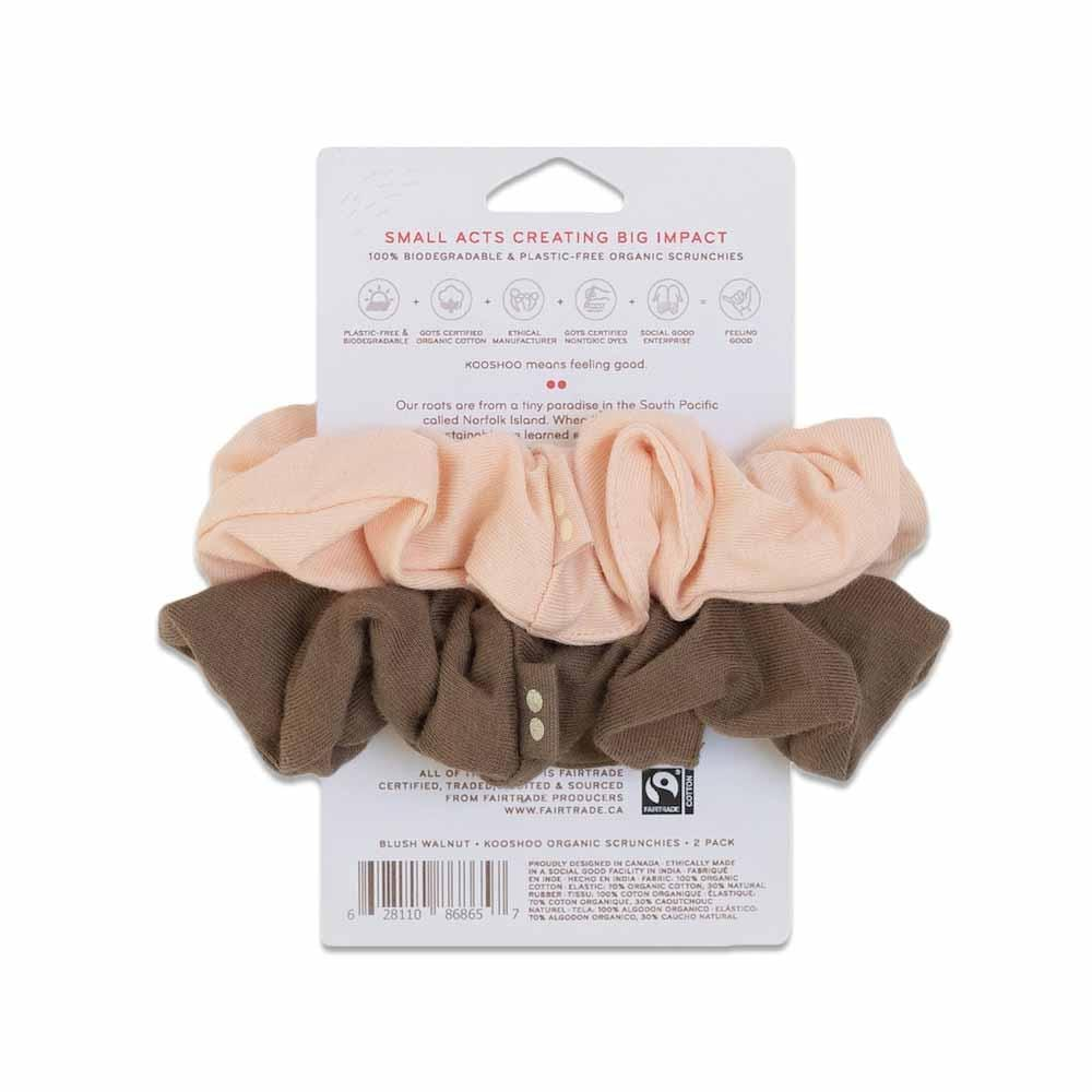 Kooshoo Organic Plastic-Free Scrunchies - Blush Walnut &Keep